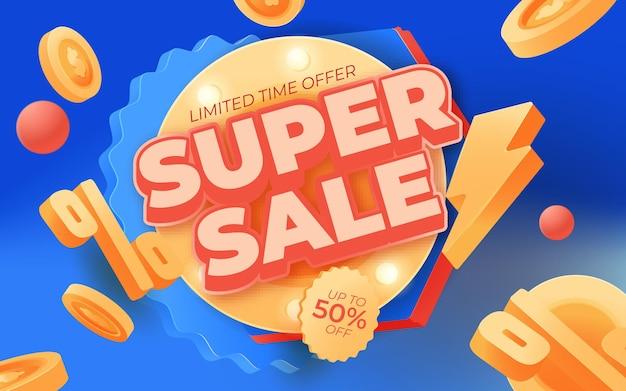 Super sale banner-tempelontwerp voor media-promoties en promo op sociale media