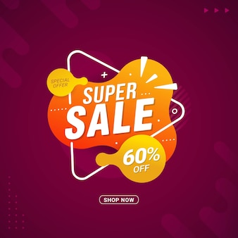 Super sale bannersjabloon flash sale kortingspromotie