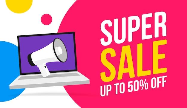 Super sale bericht bubble toespraak illustratie met megafoon op laptop, promotie of verkoop sticker hoorn label, megafoon presentatie poster.