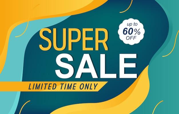 Super sale discount aanbieding promotie web app banner vectorillustratie