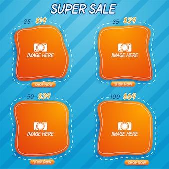 Super sale korting banner sjabloon promotie