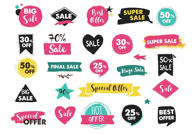 Super sale-labels, moderntickers en tags sjabloonontwerp