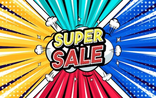 Super sale pop-art stijl zin komische stijl