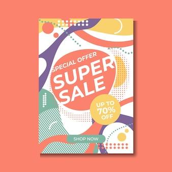 Super sale-poster, spandoek. grote verkoop, opruiming. 70% korting. vector illustratie.