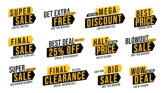 Super sale promotie sticker grote set met wow deal. krijg extra gratis tot 25 procent korting op de badge