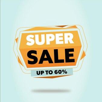 Super sale promotionele banner met zwevend geometrisch ontwerp