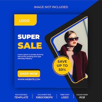 Super sale social media post banner ontwerp