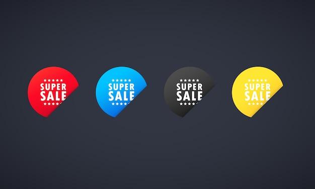 Super sale stickerset. promotie ontwerpsjabloon voor print of website. vector op geïsoleerde achtergrond. eps 10