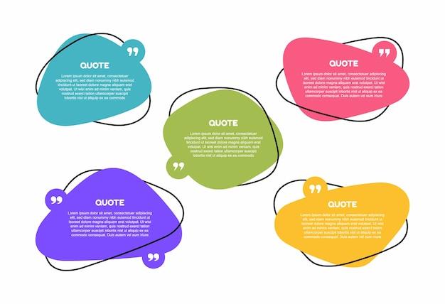 Super set geometrische tekstvakken met verschillende vormen. gekleurde tekstballon van het citaatvak. moderne illustratie.