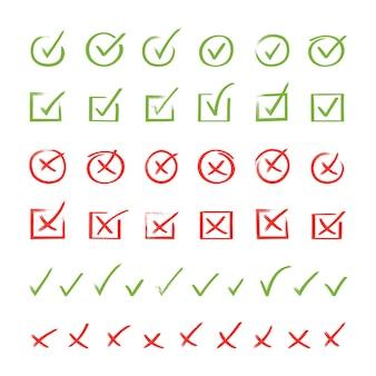 Super set handgetekend vinkje. doodle v checklist marks set.