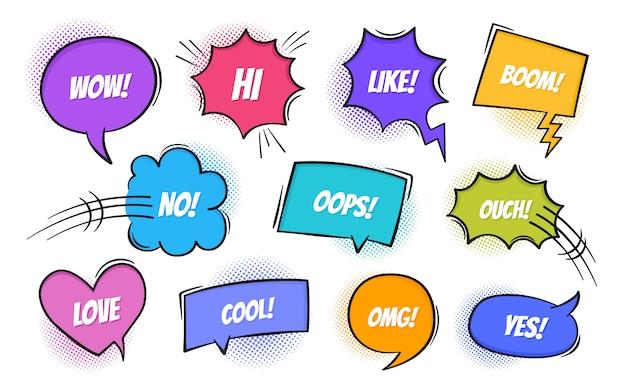 Super set retro kleurrijke stripboek tekst tekstballon in pop-art stijl met halftoon schaduwen. praat chat retro spreek bericht met verschillende uitdrukkingstekst. , retro pop-artstijl