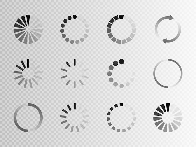 Super set verschillend laadpictogram. circle website buffer loader of preloader. statuspictogram downloaden of uploaden