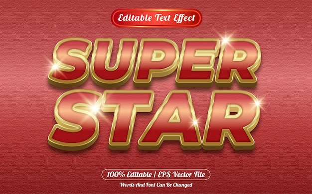 Super ster bewerkbare teksteffect sjabloonstijl