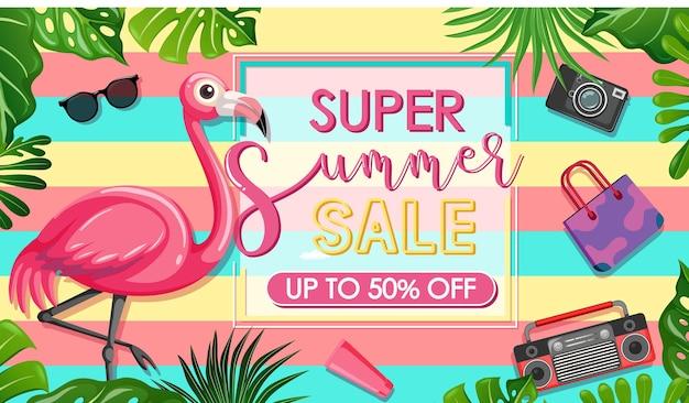 Super summer sale-lettertype met flamingo en zomerpictogrammenbanner