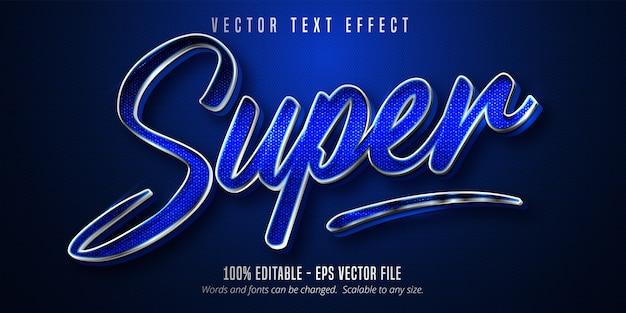 Super tekst, bewerkbaar teksteffect in zilveren stijl op blauwe canvasachtergrond