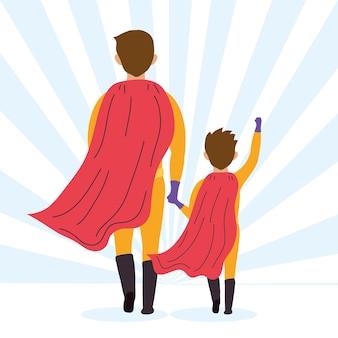 Super vader en zoon in achteraanzicht