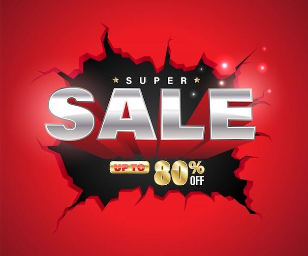 Super verkoop 3d explodeerde op gebarsten muur.