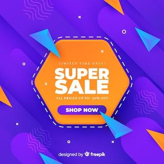 Super verkoop banner abstract ontwerp