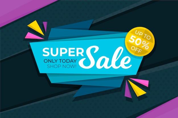 Super verkoop banner in origami-stijl