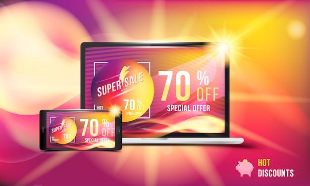 Super verkoop banner voor mobiel en laptop
