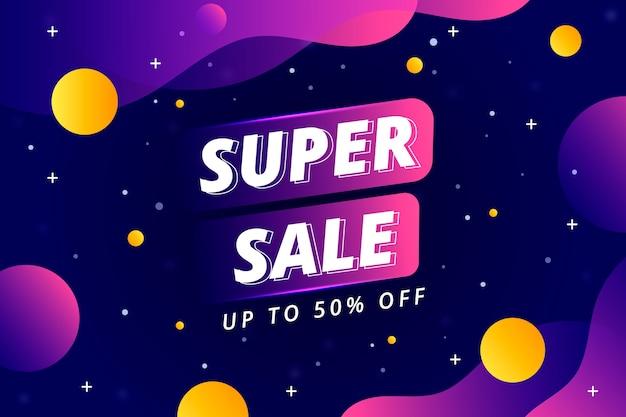 Super verkoop en vloeibare ruimteontwerpachtergrond