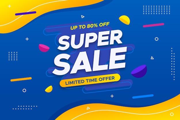 Super verkoop horizontale banner met aanbieding