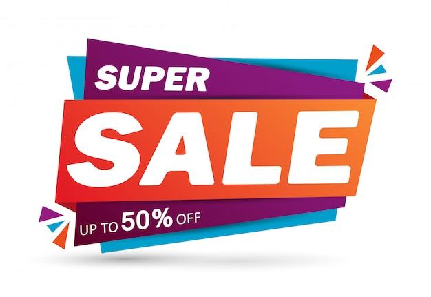 Super verkoop korting banner ontwerp