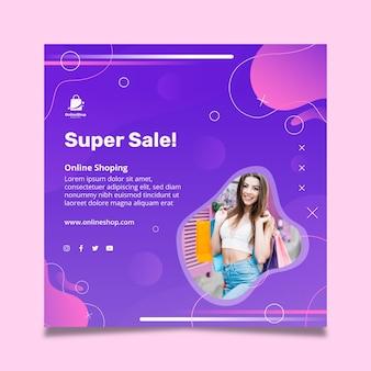 Super verkoop kwadraat flyer-sjabloon