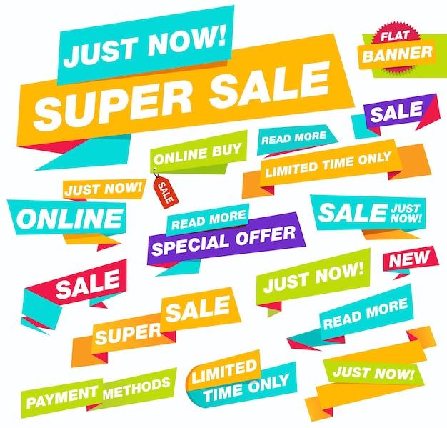Super verkoop platte banner set te koop en kortingen