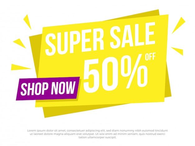 Super verkoop tekstbanner
