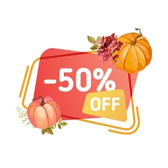 Super verkoop thanksgiving banner. herfst speciale aanbieding badge voor webdesign en kortingspromotie. vector seizoensgebonden reclame met pompoenen, herfstbloemen, vectorillustratie geïsoleerd op wit