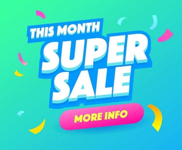 Super verkoop vierkante banner, kleurrijke en speelse banner voor speciale aanbiedingen. super verkoop