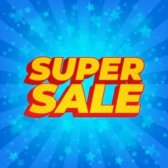 Super verkoopbanner. heldere blauwe stralenzonnestraal met sterren. comic book-stijl.