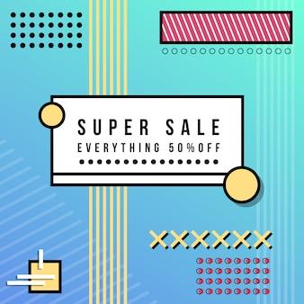 Super verkoopbanner in de stijl van memphis