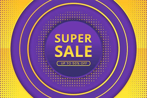Super verkoopbanner met abstracte gradiëntachtergrond