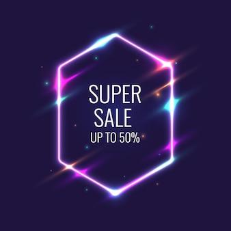 Super verkoopbanner. originele affiche voor korting. neon gloed tegen een donkere achtergrond. vector illustratie.
