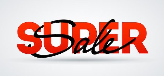Super verkoopbanner. verkoop en kortingen. vectorafficheillustratie. super sale belettering kalligrafie kaart. sjabloon voor kortingsflyer