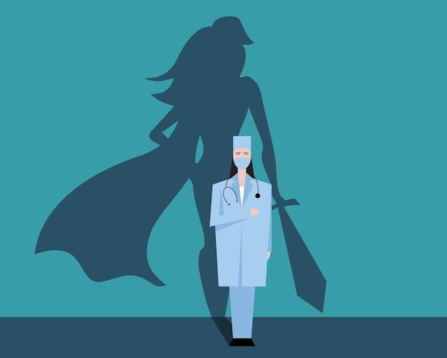 Super vrouw arts of verpleegster. superheld in ziekenhuizen die vecht voor het leven. bedankt medisch personeel voor het werk. vector illustratie concept.