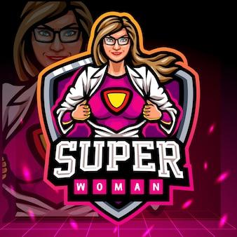 Super vrouw mascotte esport logo ontwerp