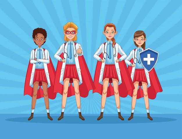 Super vrouwelijk dokterspersoneel met heldenmantels