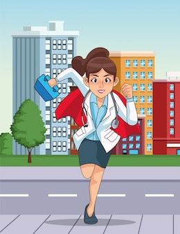 Super vrouwelijke arts met heldenmantel die op de stad loopt
