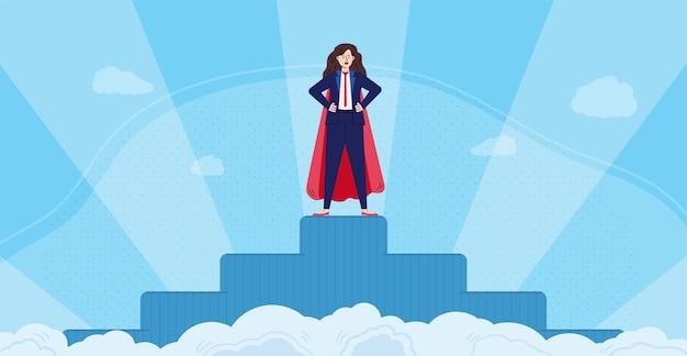 Super zakenvrouw op voetstuk met glorie stralen platte vectorillustratie
