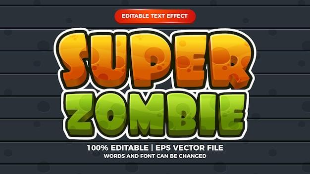 Super zombie bewerkbare teksteffect cartoon game 3d-sjabloonstijl