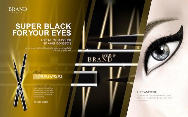 Super zwarte eyeliner-advertentie met oog