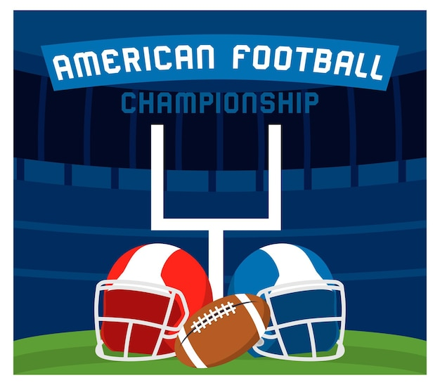 Superbowl american football in plat ontwerp