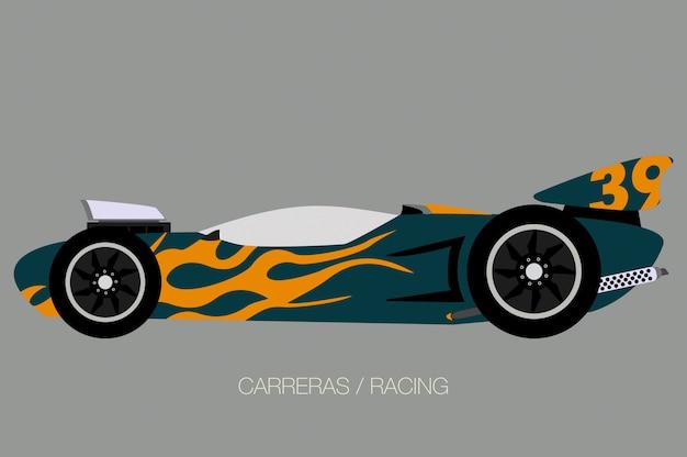 Supercar racen, zijaanzicht, platte ontwerpstijl