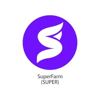 Superfarm gedecentraliseerde blockchain internet-of-things betalingen cryptocoin vector logo icoon