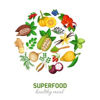 Superfood iconen set.
