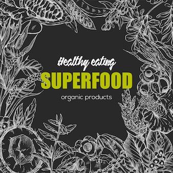 Superfood, realistisch schetsframeontwerp
