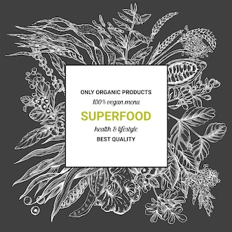Superfood vierkante frame banner,